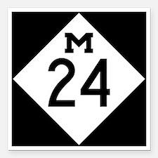"Michigan M24 Square Car Magnet 3"" x 3"""
