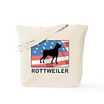 Patriotic Rottweiler Tote Bag