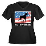 Patriotic Rottweiler Women's Plus Size V-Neck Dark