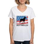 Patriotic Rottweiler Women's V-Neck T-Shirt