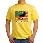 Patriotic Rottweiler Yellow T-Shirt