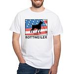 Patriotic Rottweiler White T-Shirt