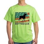 Patriotic Rottweiler Green T-Shirt