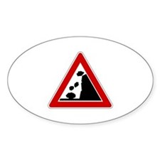 Falling Rocks Road Sign Oval Decal