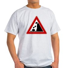 Falling Rocks Road Sign T-Shirt