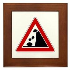 Falling Rocks Road Sign Framed Tile