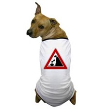Falling Rocks Road Sign Dog T-Shirt