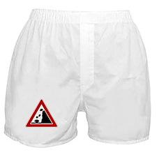 Falling Rocks Road Sign Boxer Shorts