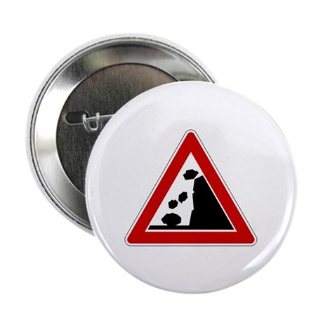 "Falling Rocks Road Sign 2.25"" Button (10 pack)"