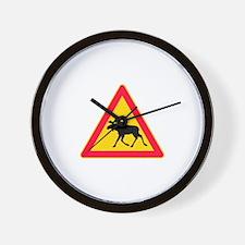 Moose Crossing Road Sign Wall Clock