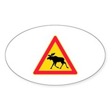Moose Crossing Road Sign Oval Sticker