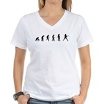 Evolution of Mens Tennis Women's V-Neck T-Shirt