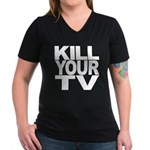 Kill Your TV Women's V-Neck Dark T-Shirt