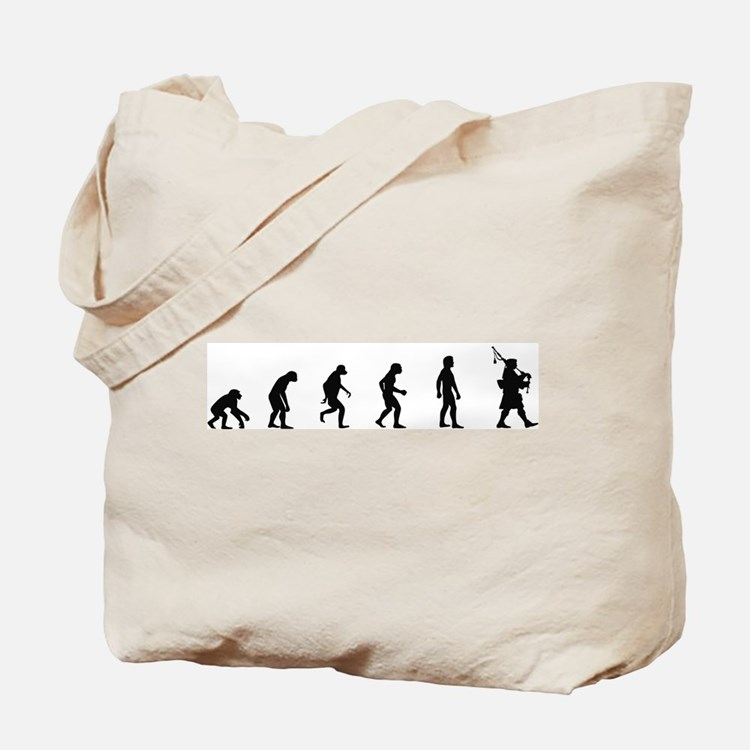 Evolution of Bagpipes Tote Bag