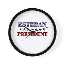 ESTEBAN for president Wall Clock