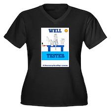 Well Tester Women's Plus Size V-Neck Dark T-Shirt