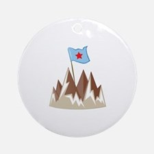 Flag In Mountain Round Ornament