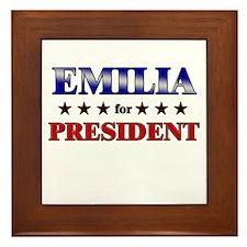 EMILIA for president Framed Tile