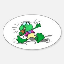 Singing Frog with Microphone Oval Decal