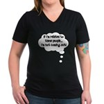 Related ... Not coming out! Women's V-Neck Dark T-