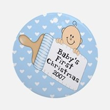 Baby Boy First Christmas Ornament (Round)