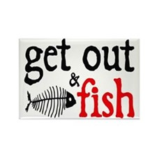Get Out & Fish Rectangle Magnet