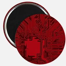 Red Geek Motherboard Circuit Pattern Magnets