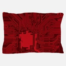 Red Geek Motherboard Circuit Pattern Pillow Case
