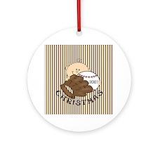 Boy's Baseball Christmas Ornament (Round)
