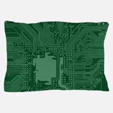 Green Geek Motherboard Circuit Pattern Pillow Case