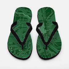 Green Geek Motherboard Circuit Pattern Flip Flops