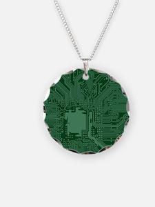 Green Geek Motherboard Circu Necklace