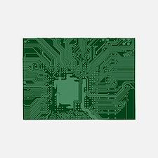 Green Geek Motherboard Circuit Patt 5'x7'Area Rug