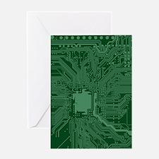 Green Geek Motherboard Circuit Patt Greeting Cards