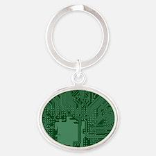 Green Geek Motherboard Circuit Pattern Keychains