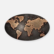World Map Oval Car Magnet