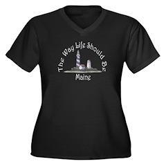 Maine Plus Size V-Neck Dark T-Shirt