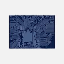 Blue Geek Motherboard Circuit Patte 5'x7'Area Rug
