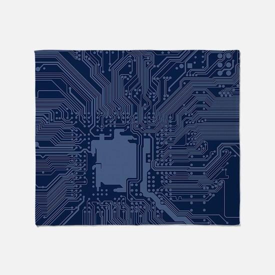 Blue Geek Motherboard Circuit Patter Throw Blanket