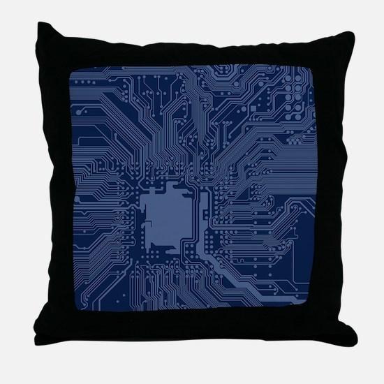 Blue Geek Motherboard Circuit Pattern Throw Pillow