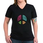 Stencil Peace Women's V-Neck Dark T-Shirt