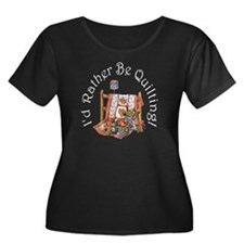 I'd Rather Be Quilting Plus Size Scoop Neck Dark T