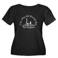 New England Plus Size Scoop Neck Dark T-Shirt