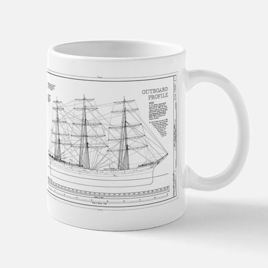 Balclutha Ship Outboard Profile Diagram Mugs