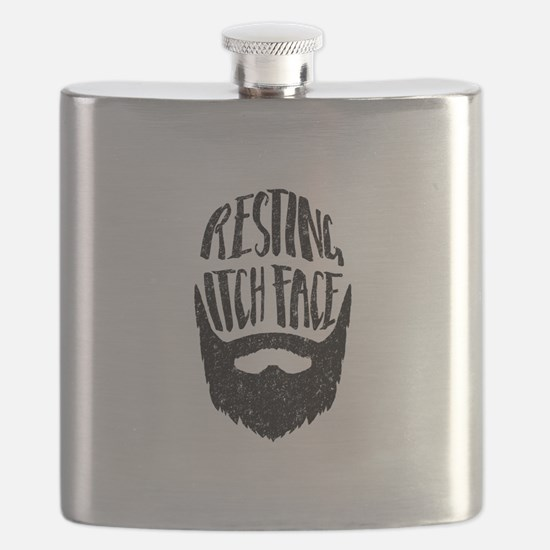Resting Itch Face Funny Beard Flask