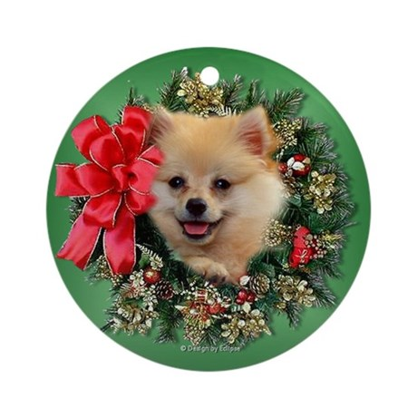 Christmas Pomeranian Ornament (Round)