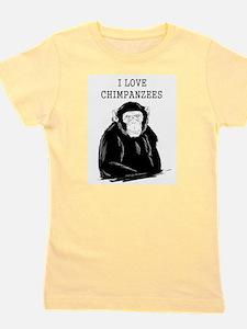 I Love Chimpanzees Girl's Tee