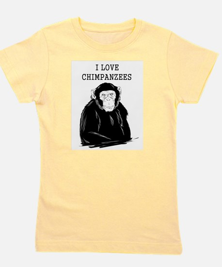 I Love Chimpanzees Girl's Tee