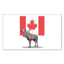 Canadian Flag with Moose Rectangle Decal