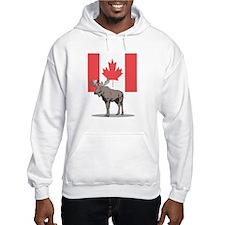 Canadian Flag with Moose Hoodie Sweatshirt